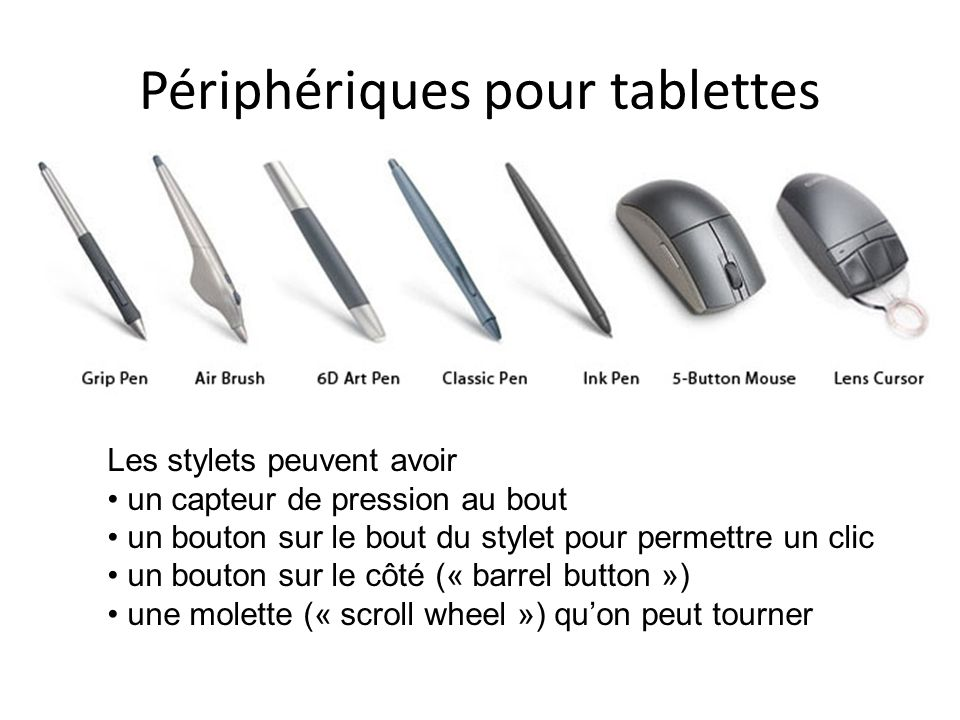 Périphériques pour tablettes Les stylets peuvent avoir un capteur de pression au bout un bouton sur le bout du stylet pour permettre un clic un bouton