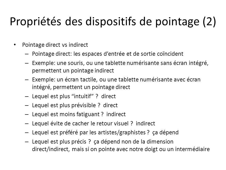 Propriétés des dispositifs de pointage (2) Pointage direct vs indirect – Pointage direct: les espaces dentrée et de sortie coïncident – Exemple: une s