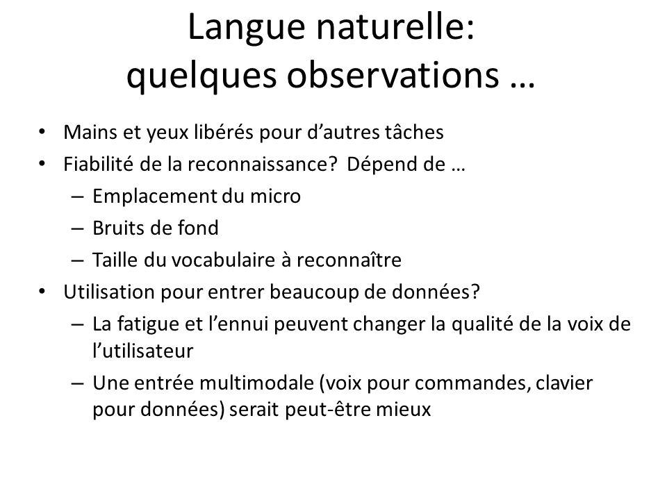 Langue naturelle: quelques observations … Mains et yeux libérés pour dautres tâches Fiabilité de la reconnaissance? Dépend de … – Emplacement du micro