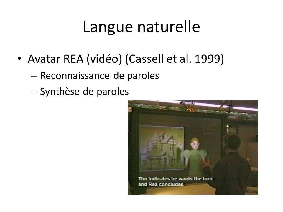 Langue naturelle Avatar REA (vidéo) (Cassell et al. 1999) – Reconnaissance de paroles – Synthèse de paroles