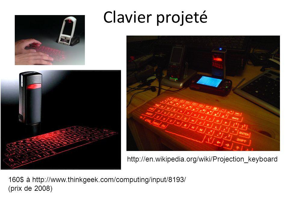 Clavier projeté http://en.wikipedia.org/wiki/Projection_keyboard 160$ à http://www.thinkgeek.com/computing/input/8193/ (prix de 2008)