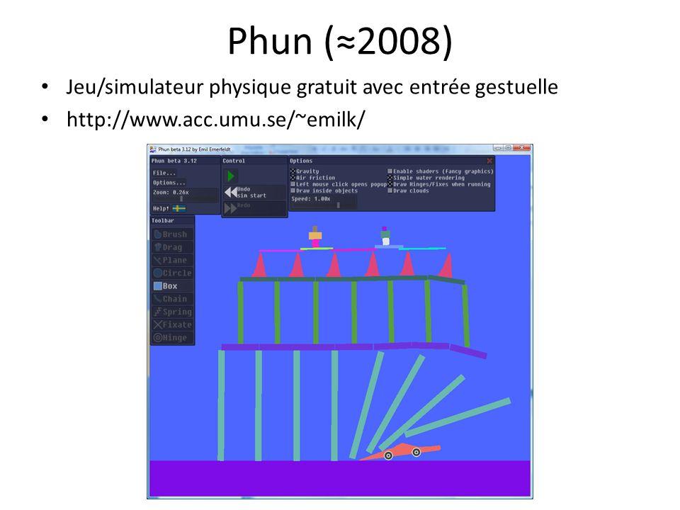 Phun (2008) Jeu/simulateur physique gratuit avec entrée gestuelle http://www.acc.umu.se/~emilk/