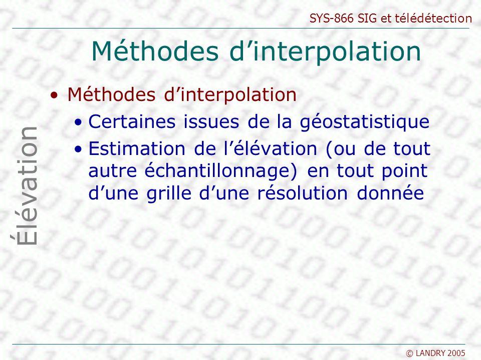 SYS-866 SIG et télédétection © LANDRY 2005 Méthodes dinterpolation Certaines issues de la géostatistique Estimation de lélévation (ou de tout autre éc
