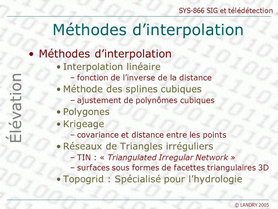 SYS-866 SIG et télédétection © LANDRY 2005 Méthodes dinterpolation Interpolation linéaire –fonction de linverse de la distance Méthode des splines cub