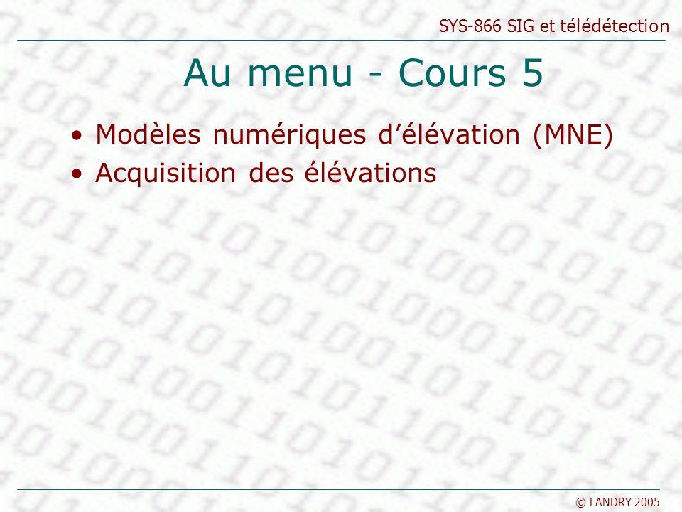 SYS-866 SIG et télédétection © LANDRY 2005 Au menu - Cours 5 Modèles numériques délévation (MNE) Acquisition des élévations