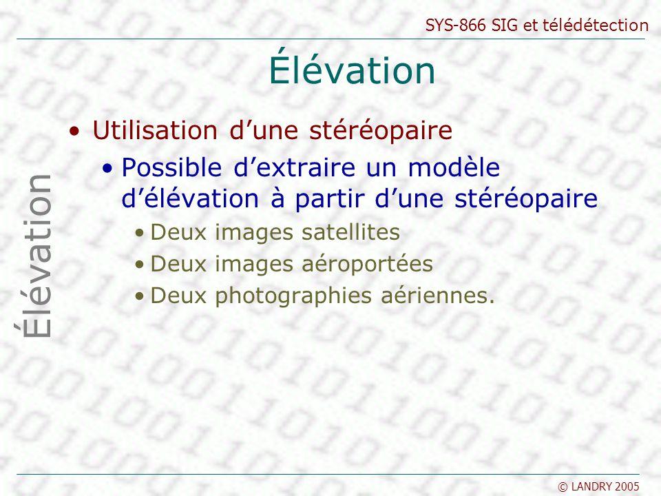 SYS-866 SIG et télédétection © LANDRY 2005 Élévation Utilisation dune stéréopaire Possible dextraire un modèle délévation à partir dune stéréopaire De