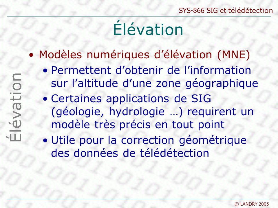 SYS-866 SIG et télédétection © LANDRY 2005 Élévation Modèles numériques délévation (MNE) Permettent dobtenir de linformation sur laltitude dune zone g