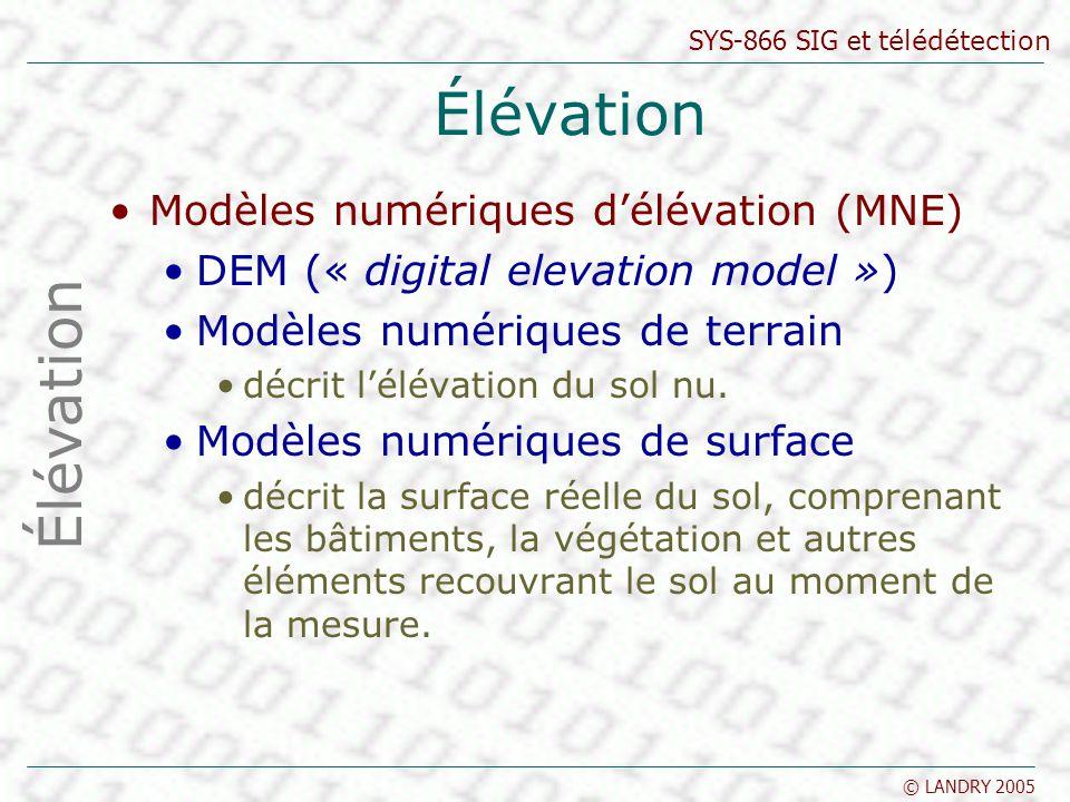 SYS-866 SIG et télédétection © LANDRY 2005 Élévation Modèles numériques délévation (MNE) DEM (« digital elevation model ») Modèles numériques de terra
