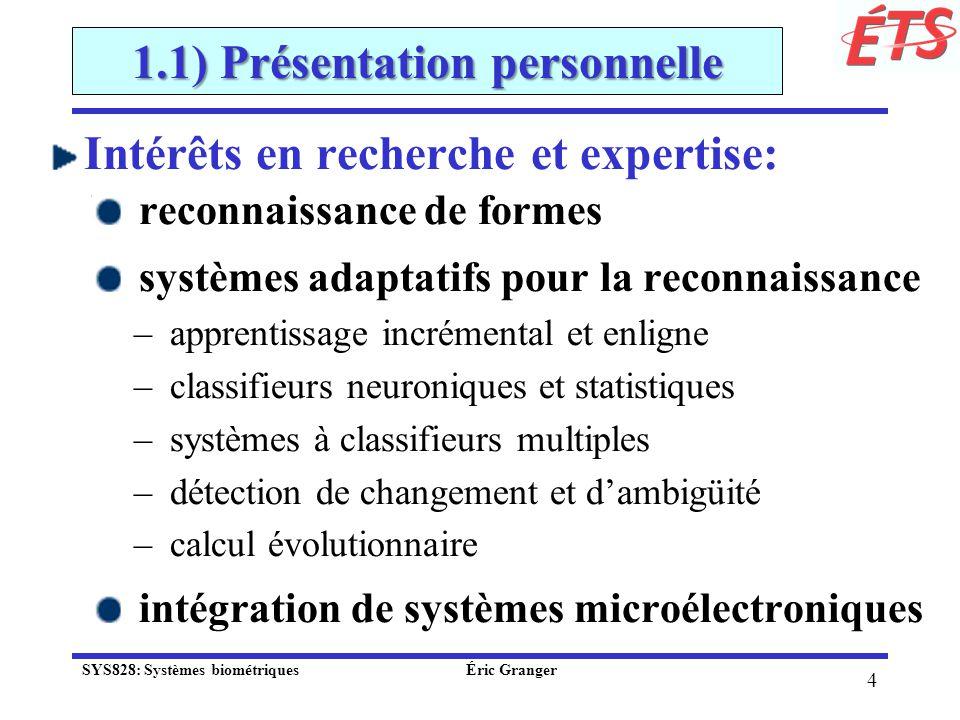 15 1.1) Présentation personnelle Fusion dynamique des classifieurs selon le contexte: débalancement des données (Radtke et al., IF 20013) Skew-Sensitive Boolean Combination (SSBC) SYS828: Systèmes biométriques Éric Granger