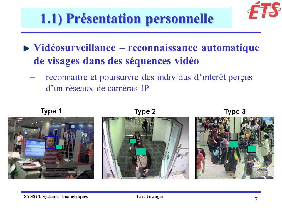 68 2.3) Défis actuels Facteur 1: Précision Taux derreurs pour différentes technologies de vérification (classificateurs à 1 ou 2-classes): Trait biométrique Test à grande pour technologies de pointe (avec bases standards) FRRFAR empreinte digitale FVC 2006 - 4 types de senseurs; population hétérogène; rotations et distorsions de peau 2.2% visageFRVT 2006 - contrôle de luminosité; haute résolution 1.6%0.1% fixé irisICE 2006 - contrôle de luminosité; haute résolution 1.4%0.1% fixé voixNIST 2006 -indépendant du texte; multilingue 5-10%2-5% SYS828: Systèmes biométriques Éric Granger