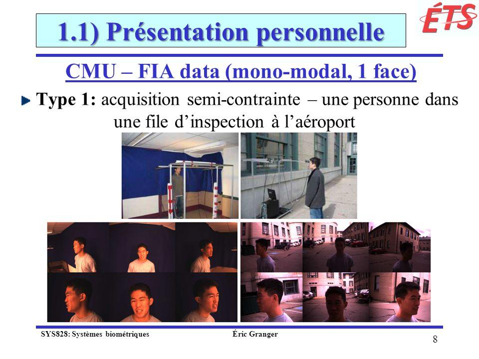 39 2.2) Reconnaissance biométrique Déf.: reconnaissance automatique dindividus selon leurs traits distinctifs, soit: physiologiques: visage, empreinte digitale, etc.