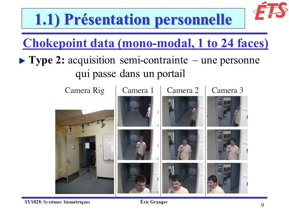 10 1.1) Présentation personnelle Système pour la reconnaissance spatio- temporelle de visages dans des vidéos SYS828: Systèmes biométriques Éric Granger