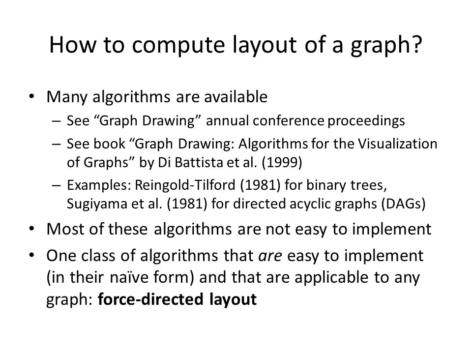 How to compute layout of a graph? Many algorithms are available – See Graph Drawing annual conference proceedings – See book Graph Drawing: Algorithms