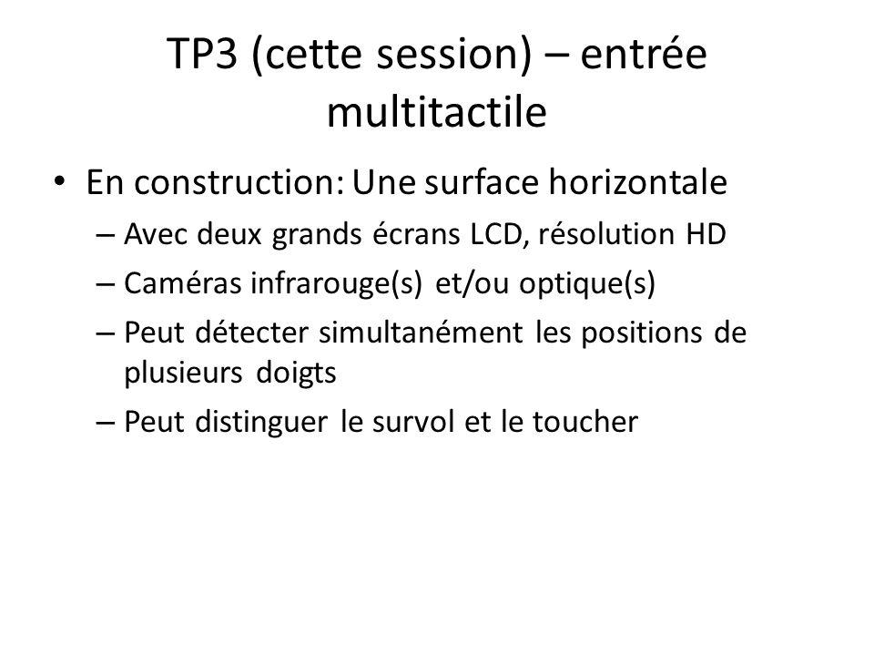 TP3 (cette session) – entrée multitactile En construction: Une surface horizontale – Avec deux grands écrans LCD, résolution HD – Caméras infrarouge(s) et/ou optique(s) – Peut détecter simultanément les positions de plusieurs doigts – Peut distinguer le survol et le toucher