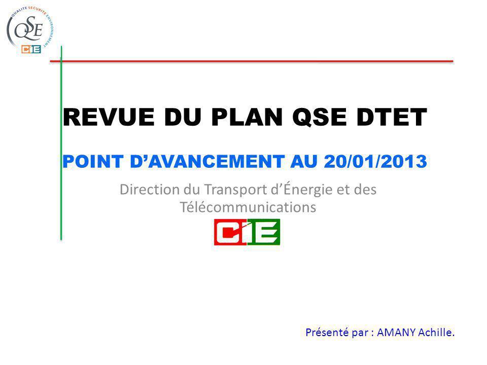 REVUE DU PLAN QSE DTET POINT DAVANCEMENT AU 20/01/2013 Direction du Transport dÉnergie et des Télécommunications Présenté par : AMANY Achille.