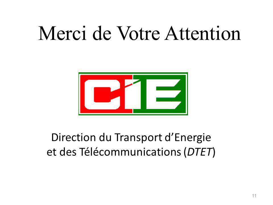 Direction du Transport dEnergie et des Télécommunications (DTET) Merci de Votre Attention 11