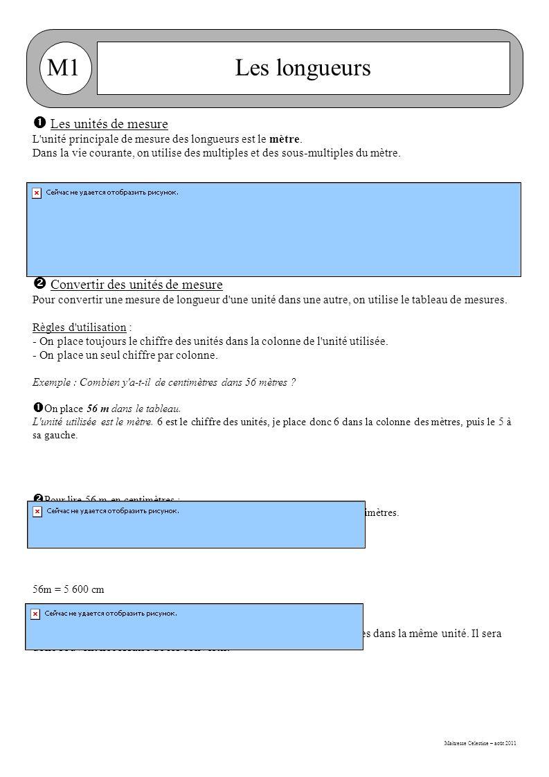 Maitresse Célestine – août 2011 M1Les longueurs  Les unités de mesure L unité principale de mesure des longueurs est le mètre.