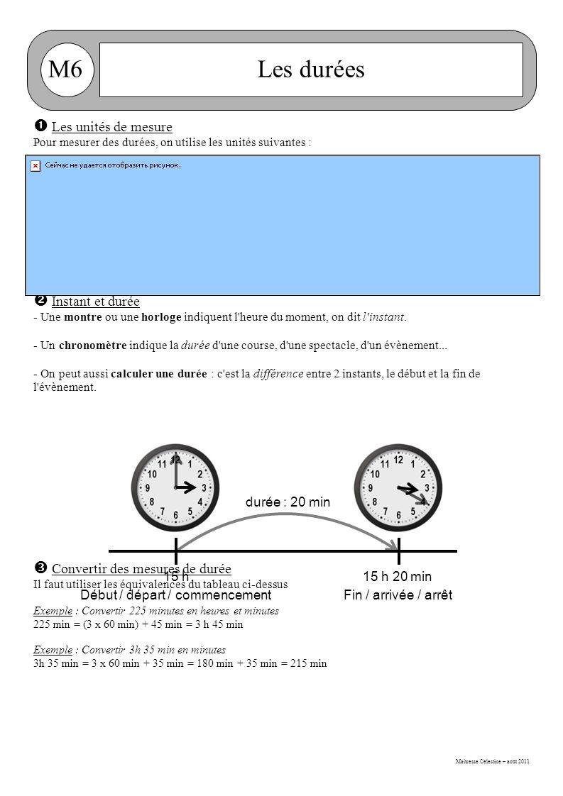 Maitresse Célestine – août 2011 M6Les durées  Les unités de mesure Pour mesurer des durées, on utilise les unités suivantes :  Instant et durée - Une montre ou une horloge indiquent l heure du moment, on dit l instant.