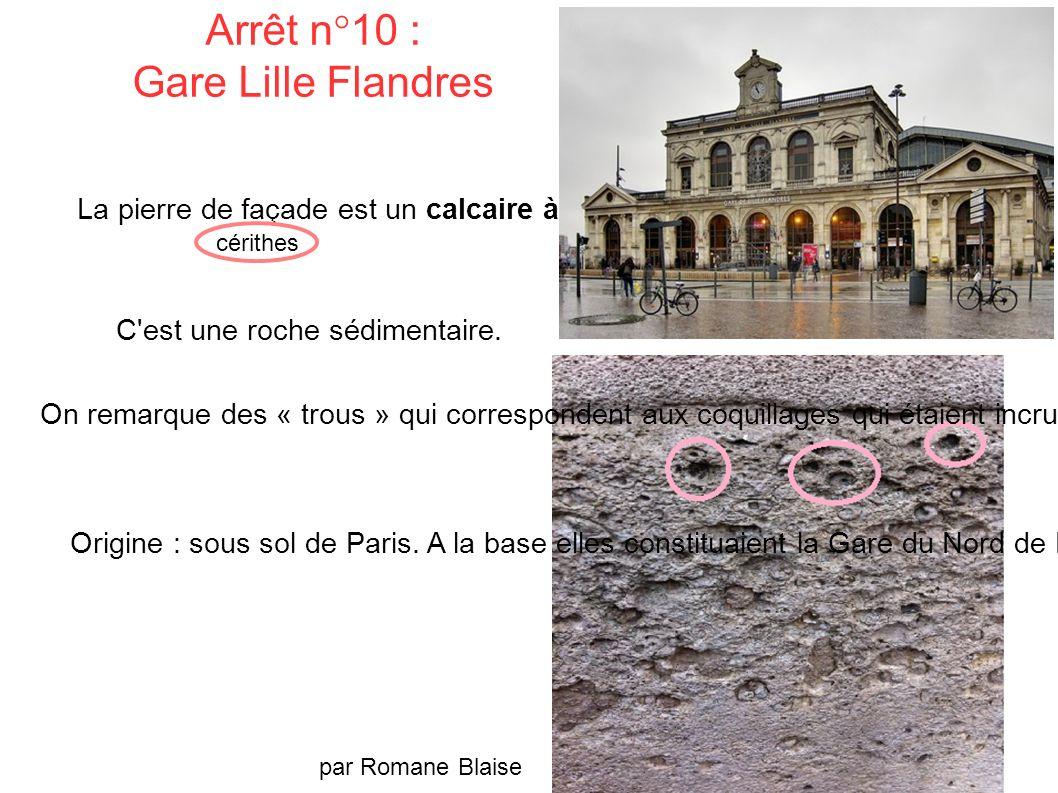 Arrêt n°10 : Gare Lille Flandres La pierre de façade est un calcaire à cérithes.