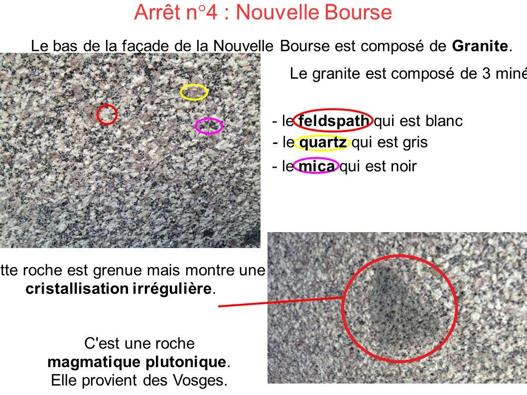 Arrêt n°4 : Nouvelle Bourse C est une roche magmatique plutonique.