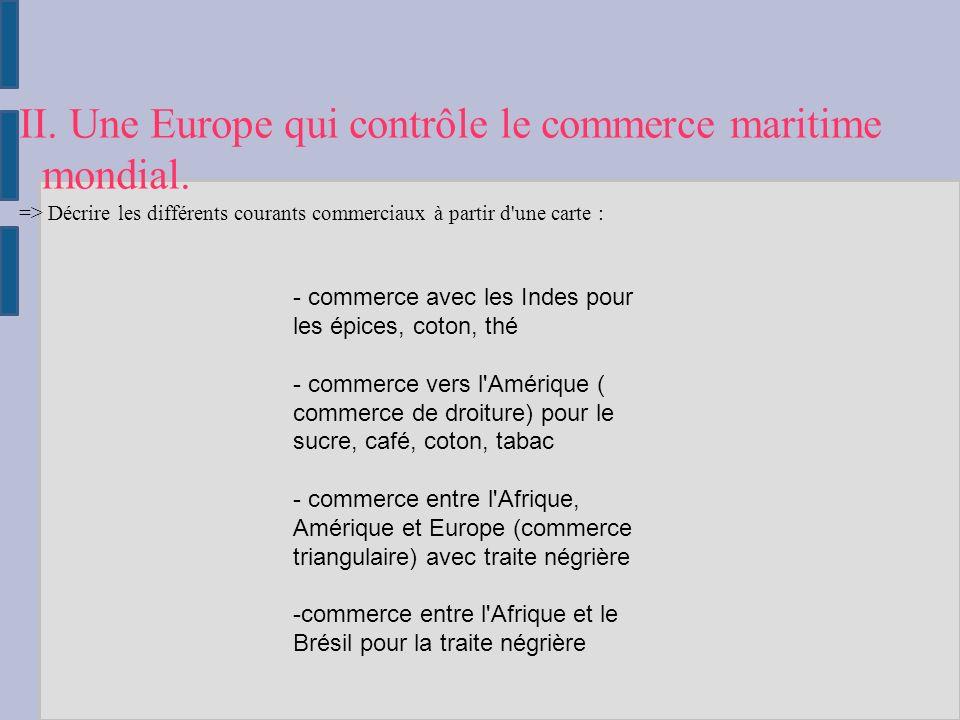 II. Une Europe qui contrôle le commerce maritime mondial.