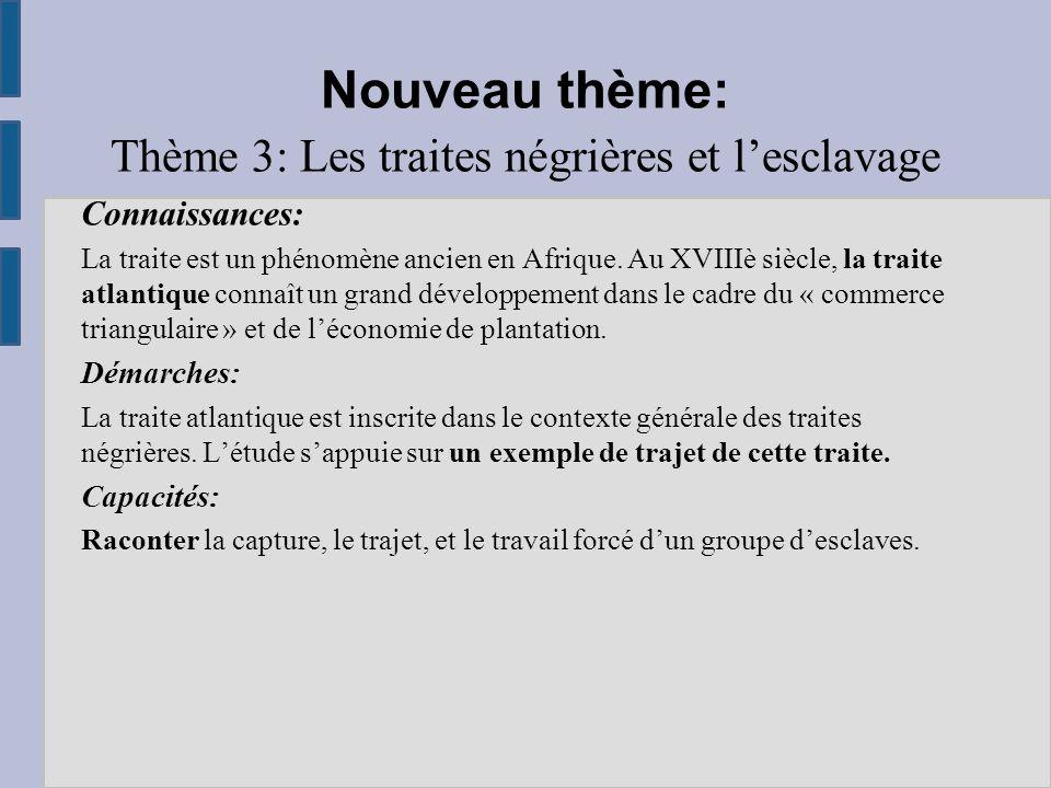 Nouveau thème: Thème 3: Les traites négrières et l'esclavage Connaissances: La traite est un phénomène ancien en Afrique.