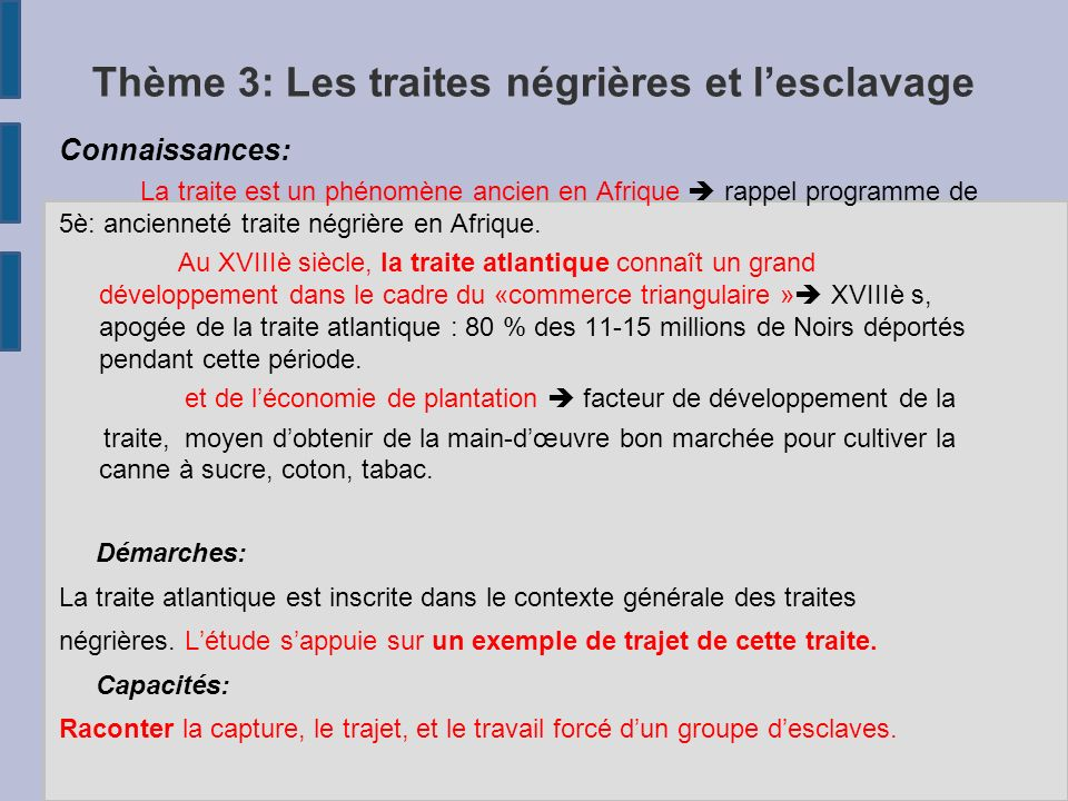 Thème 3: Les traites négrières et l'esclavage Connaissances: La traite est un phénomène ancien en Afrique  rappel programme de 5è: ancienneté traite négrière en Afrique.