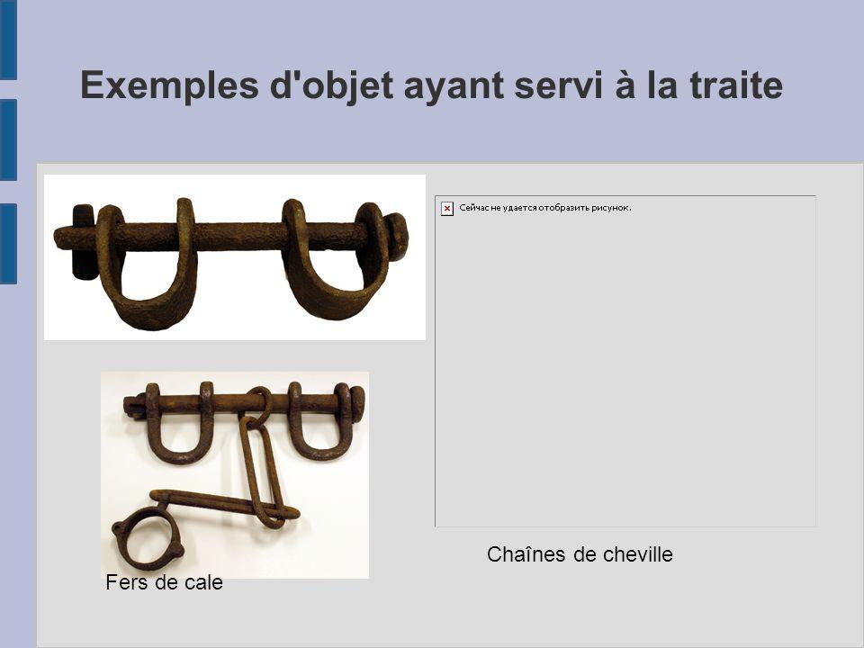 Exemples d objet ayant servi à la traite Chaînes de cheville Fers de cale