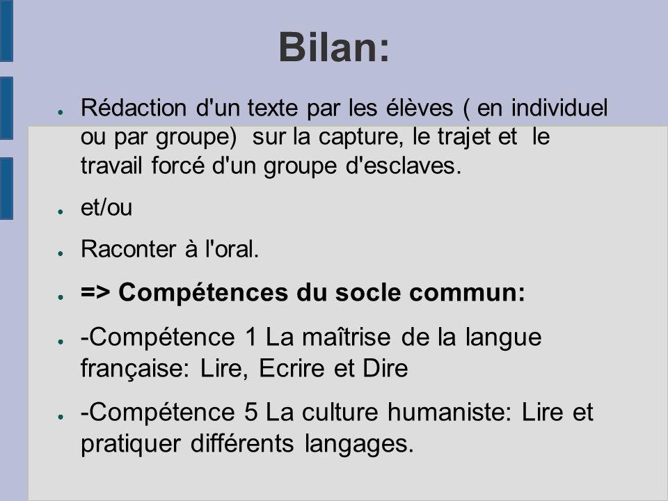 Bilan: ● Rédaction d un texte par les élèves ( en individuel ou par groupe) sur la capture, le trajet et le travail forcé d un groupe d esclaves.