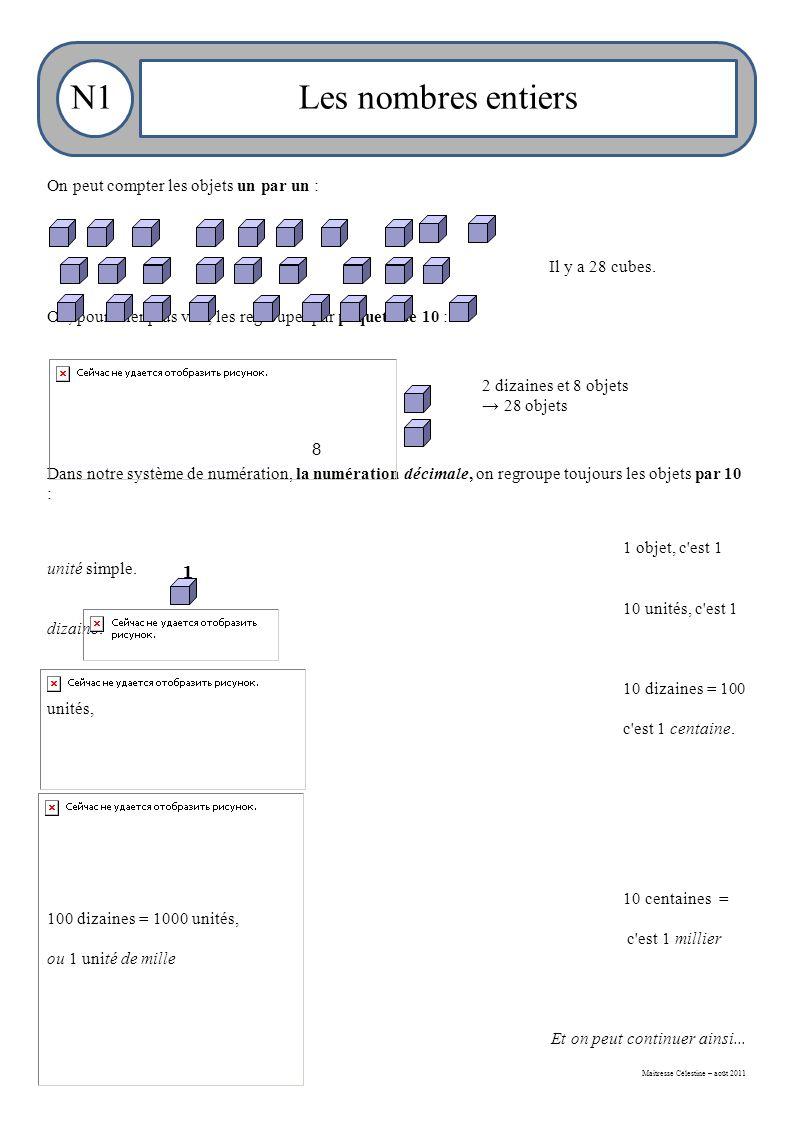 Maitresse Célestine – août 2011 Les nombres entiersN1 On peut compter les objets un par un : Ou, pour aller plus vite, les regrouper par paquets de 10 : Dans notre système de numération, la numération décimale, on regroupe toujours les objets par 10 : 1 objet, c est 1 unité simple.