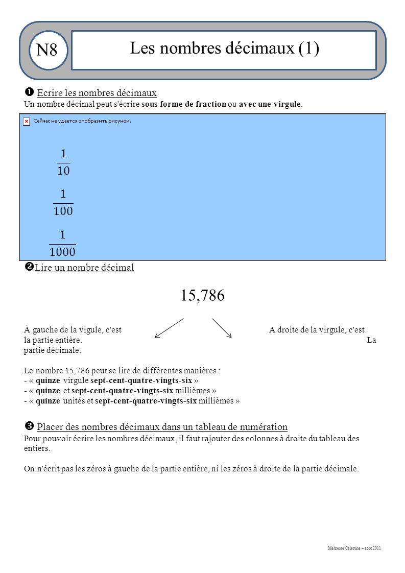 Maitresse Célestine – août 2011 N8 Les nombres décimaux (1)  Ecrire les nombres décimaux Un nombre décimal peut s écrire sous forme de fraction ou avec une virgule.
