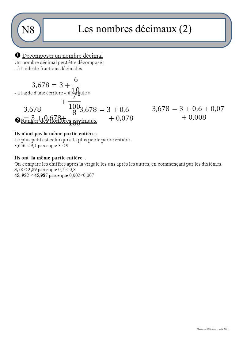 Maitresse Célestine – août 2011 N8 Les nombres décimaux (2)  Décomposer un nombre décimal Un nombre décimal peut être décomposé : - à l aide de fractions décimales - à l aide d une écriture « à virgule »  Ranger des nombres décimaux Ils n ont pas la même partie entière : Le plus petit est celui qui a la plus petite partie entière.