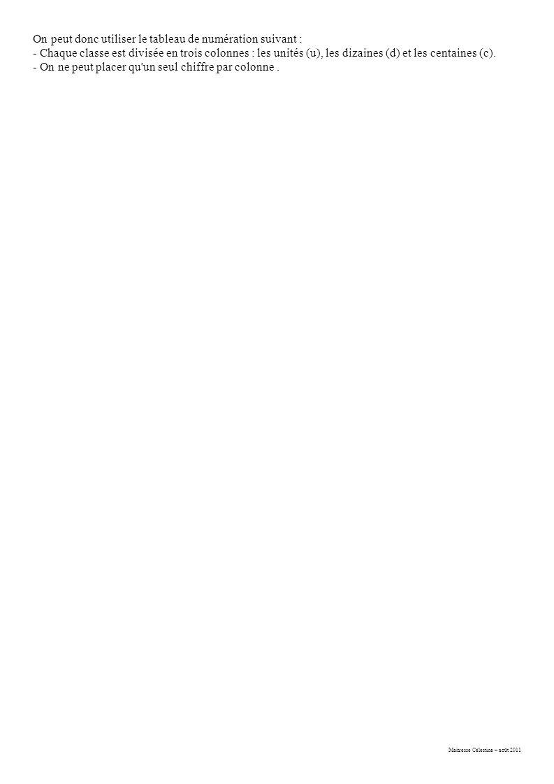 Maitresse Célestine – août 2011 On peut donc utiliser le tableau de numération suivant : - Chaque classe est divisée en trois colonnes : les unités (u), les dizaines (d) et les centaines (c).