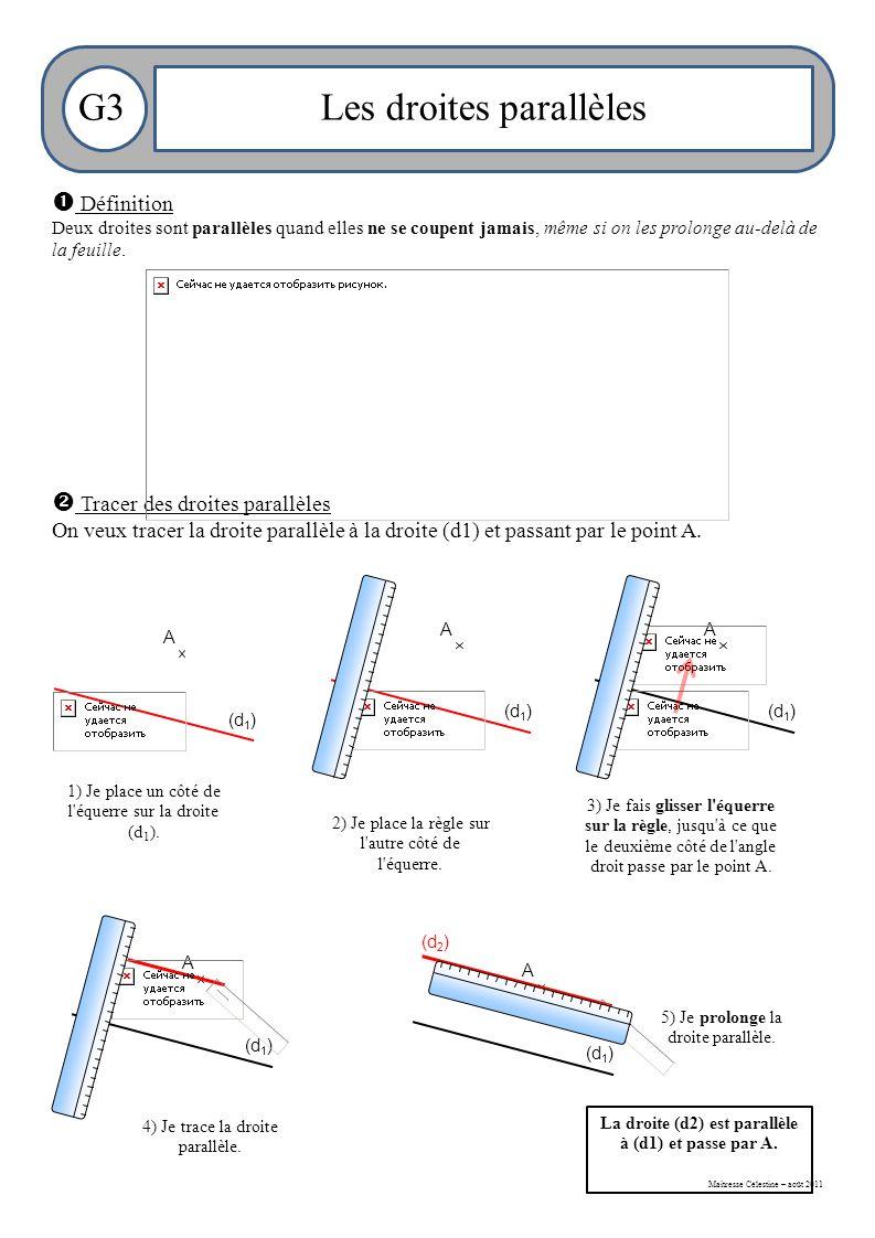 Maitresse Célestine – août 2011 G3Les droites parallèles  Définition Deux droites sont parallèles quand elles ne se coupent jamais, même si on les prolonge au-delà de la feuille.