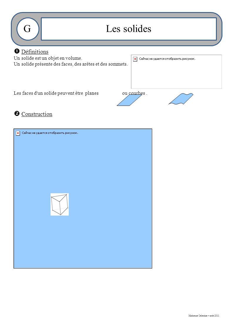 Maitresse Célestine – août 2011 GLes solides  Définitions Un solide est un objet en volume.
