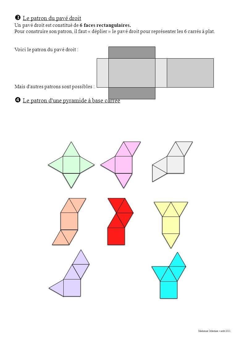 Maitresse Célestine – août 2011  Le patron du pavé droit Un pavé droit est constitué de 6 faces rectangulaires.