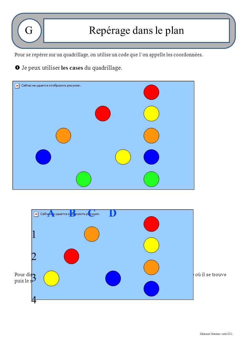 Maitresse Célestine – août 2011 GRepérage dans le plan Pour se repérer sur un quadrillage, on utilise un code que l'on appelle les coordonnées.
