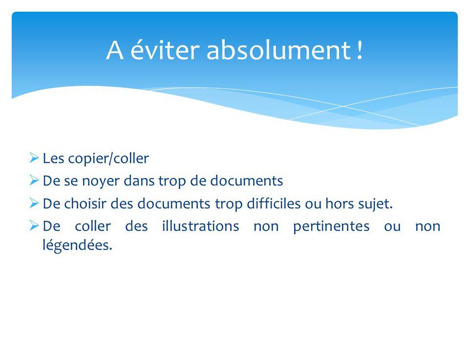  Les copier/coller  De se noyer dans trop de documents  De choisir des documents trop difficiles ou hors sujet.