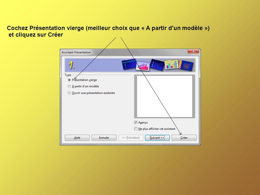 Cochez Présentation vierge (meilleur choix que « A partir d un modèle ») et cliquez sur Créer