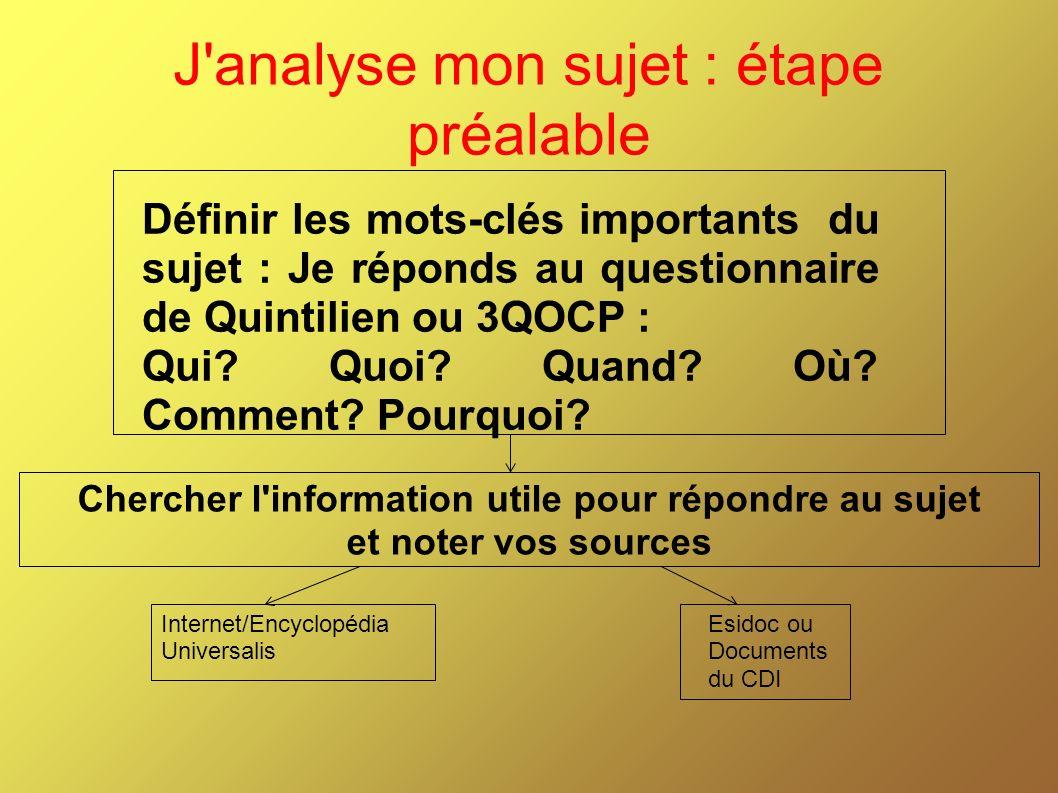 J analyse mon sujet : étape préalable Définir les mots-clés importants du sujet : Je réponds au questionnaire de Quintilien ou 3QOCP : Qui.