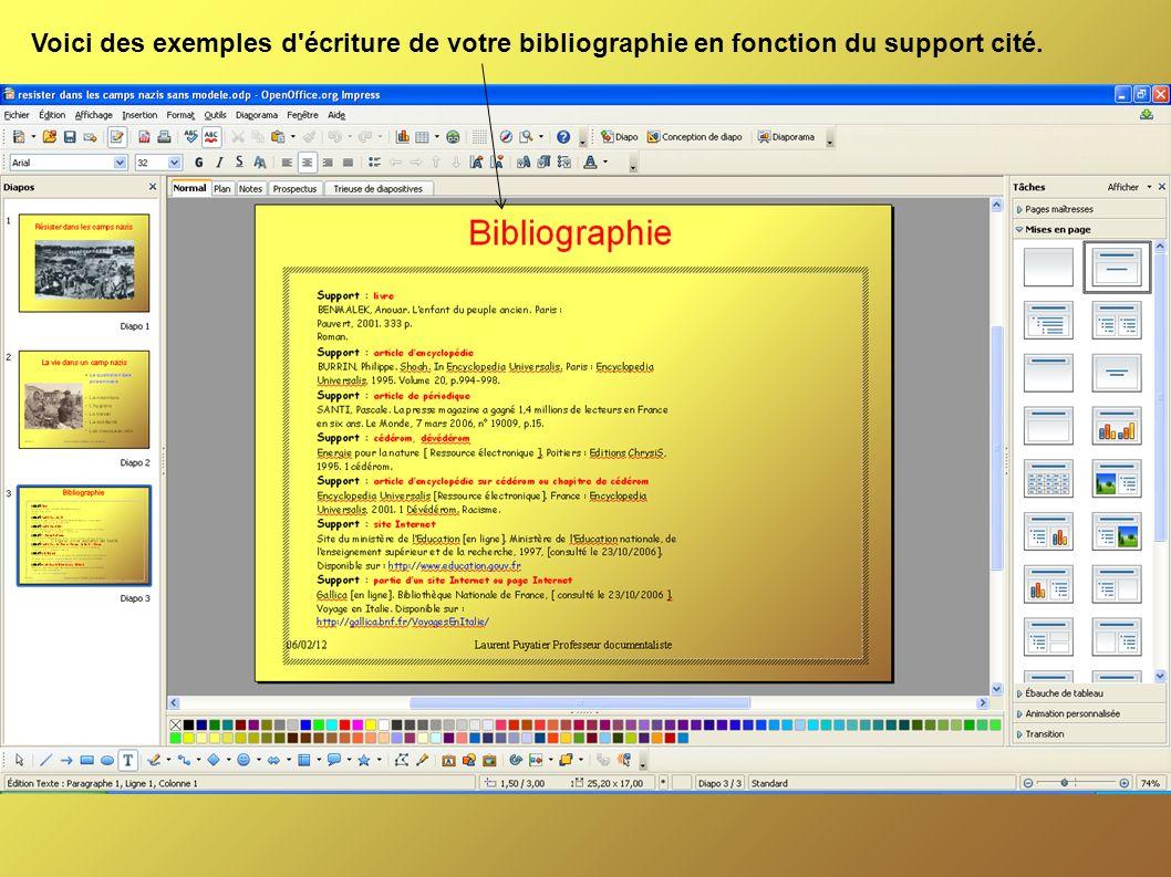 Voici des exemples d écriture de votre bibliographie en fonction du support cité.