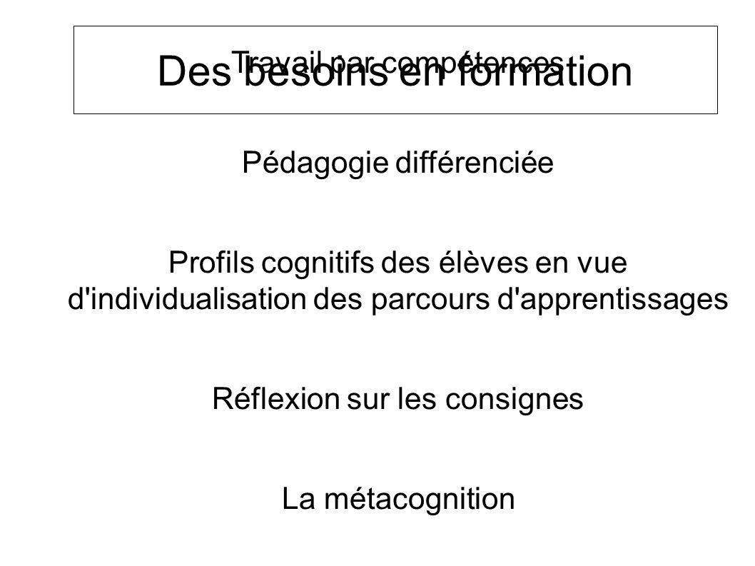 Des besoins en formation Travail par compétences Pédagogie différenciée Profils cognitifs des élèves en vue d individualisation des parcours d apprentissages Réflexion sur les consignes La métacognition La pédagogie de la remédiation SOCLE COMMUN au COLLEGE