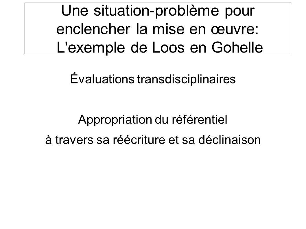 Une situation-problème pour enclencher la mise en œuvre: L exemple de Loos en Gohelle Évaluations transdisciplinaires Appropriation du référentiel à travers sa réécriture et sa déclinaison SOCLE COMMUN au COLLEGE