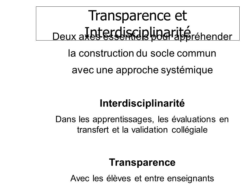 Transparence et Interdisciplinarité Deux axes essentiels pour appréhender la construction du socle commun avec une approche systémique Interdisciplinarité Dans les apprentissages, les évaluations en transfert et la validation collégiale Transparence Avec les élèves et entre enseignants SOCLE COMMUN au COLLEGE