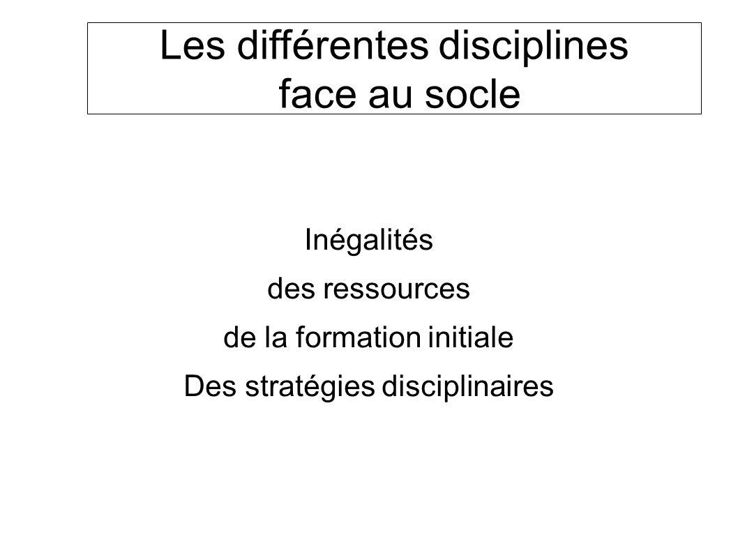 Les différentes disciplines face au socle Inégalités des ressources de la formation initiale Des stratégies disciplinaires SOCLE COMMUN au COLLEGE