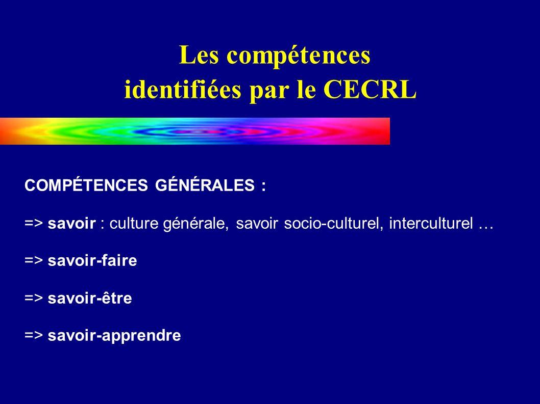 Les compétences identifiées par le CECRL COMPÉTENCES GÉNÉRALES : => savoir : culture générale, savoir socio-culturel, interculturel … => savoir-faire => savoir-être => savoir-apprendre