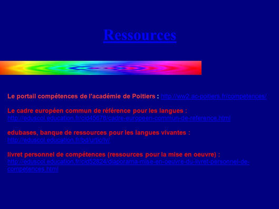 Ressources Le portail compétences de l académie de Poitiers : http://ww2.ac-poitiers.fr/competences/http://ww2.ac-poitiers.fr/competences/ Le cadre européen commun de référence pour les langues : http://eduscol.education.fr/cid45678/cadre-europeen-commun-de-reference.html http://eduscol.education.fr/cid45678/cadre-europeen-commun-de-reference.html edubases, banque de ressources pour les langues vivantes : http://eduscol.education.fr/bd/urtic/lv/ http://eduscol.education.fr/bd/urtic/lv/ livret personnel de compétences (ressources pour la mise en oeuvre) : http://eduscol.education.fr/cid52824/diaporama-mise-en-oeuvre-du-livret-personnel-de- competences.html http://eduscol.education.fr/cid52824/diaporama-mise-en-oeuvre-du-livret-personnel-de- competences.html