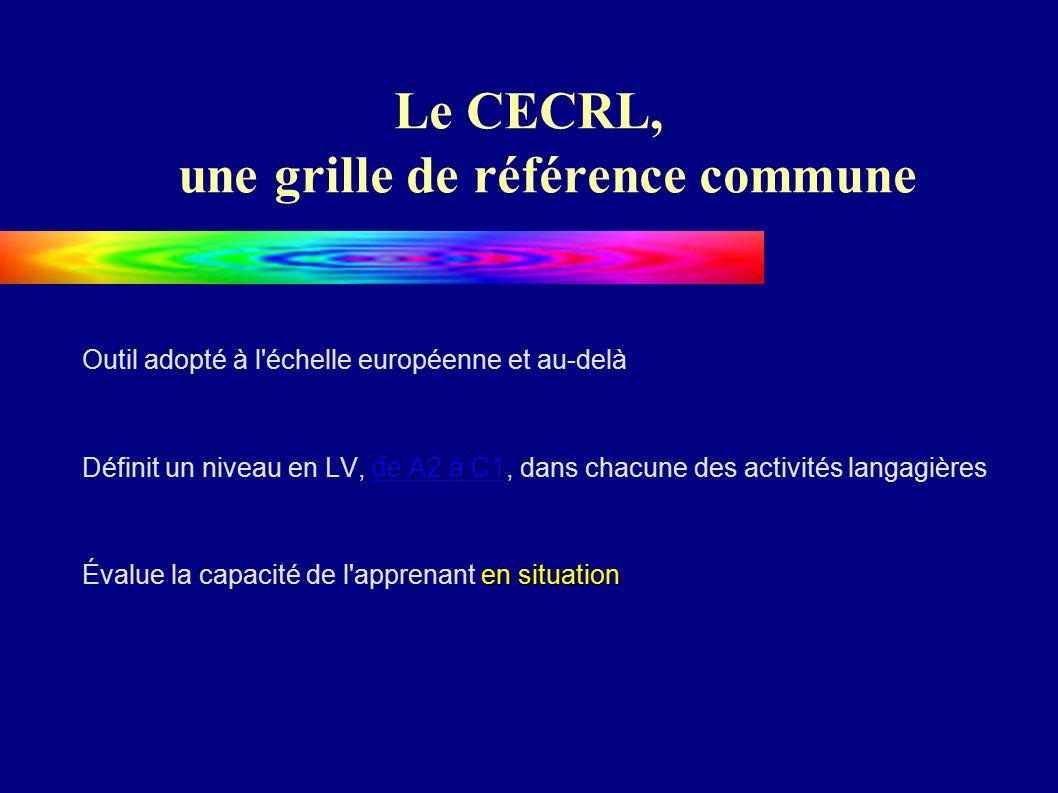 Le CECRL, une grille de référence commune Outil adopté à l échelle européenne et au-delà de A2 à C1 de A2 à C1 Définit un niveau en LV, de A2 à C1, dans chacune des activités langagièresde A2 à C1 en situation Évalue la capacité de l apprenant en situation