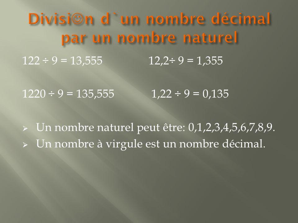 122 ÷ 9 = 13,555 12,2÷ 9 = 1,355 1220 ÷ 9 = 135,555 1,22 ÷ 9 = 0,135  Un nombre naturel peut être: 0,1,2,3,4,5,6,7,8,9.