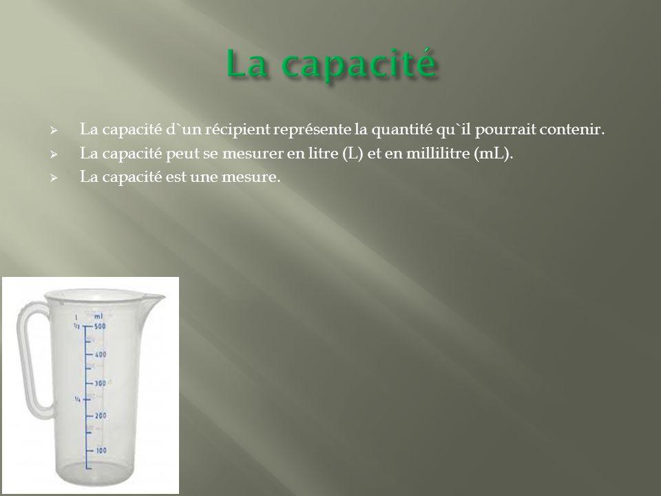  La capacité d`un récipient représente la quantité qu`il pourrait contenir.